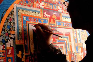 Buddhist thangka paintings on display at Phap Van Pagoda