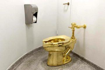 Hình ảnh bồn cầu vàng hơn trăm tỷ vừa bị đánh cắp