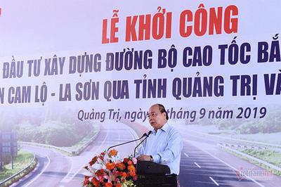 Thủ tướng phát lệnh khởi công cao tốc Cam Lộ-La Sơn, cấm bán thầu B thành B phẩy