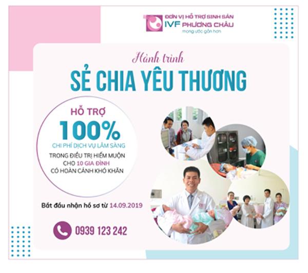 Miễn phí dịch vụ lâm sàng điều trị hiếm muộn cho 10 gia đình khó khăn