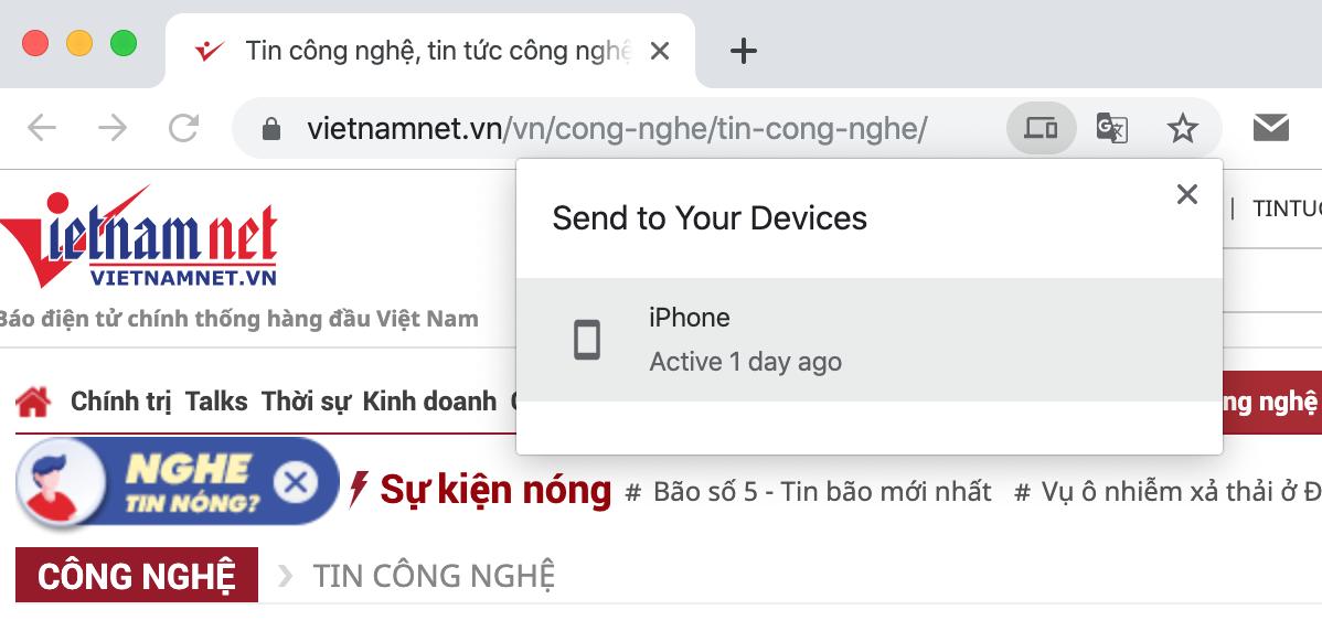 Cách gửi tab Chrome đang đọc từ máy tính sang Android hoặc iOS