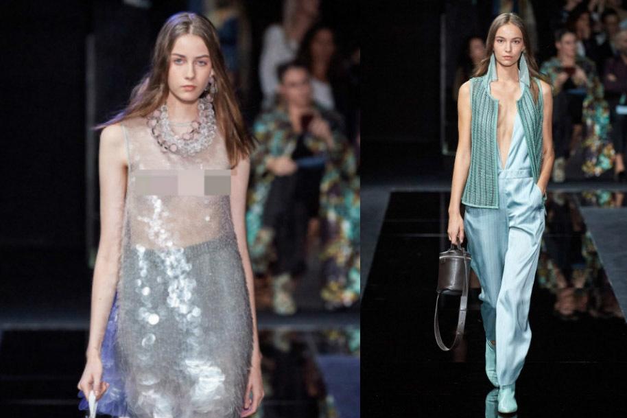 Dàn mẫu mặc áo trong suốt lộ vòng 1 tại Milan Fashion Week