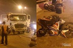 Xe bồn ủi tung dải phân cách, húc xe máy đổ la liệt trên cầu Thanh Trì