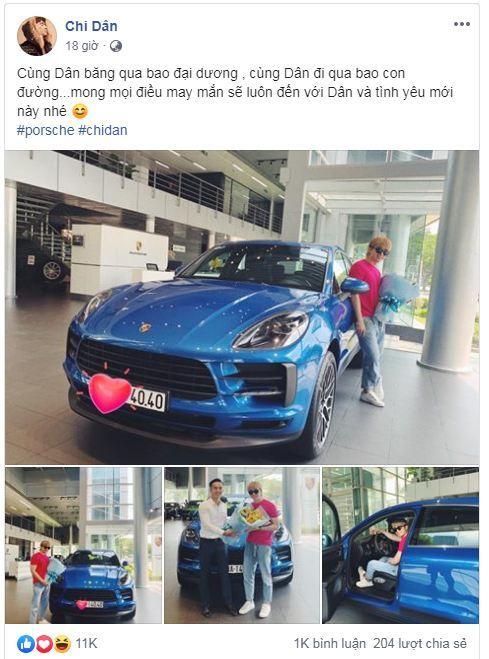 Ca sĩ Chi Dân khoe Porsche Macan tiền tỷ mới tậu