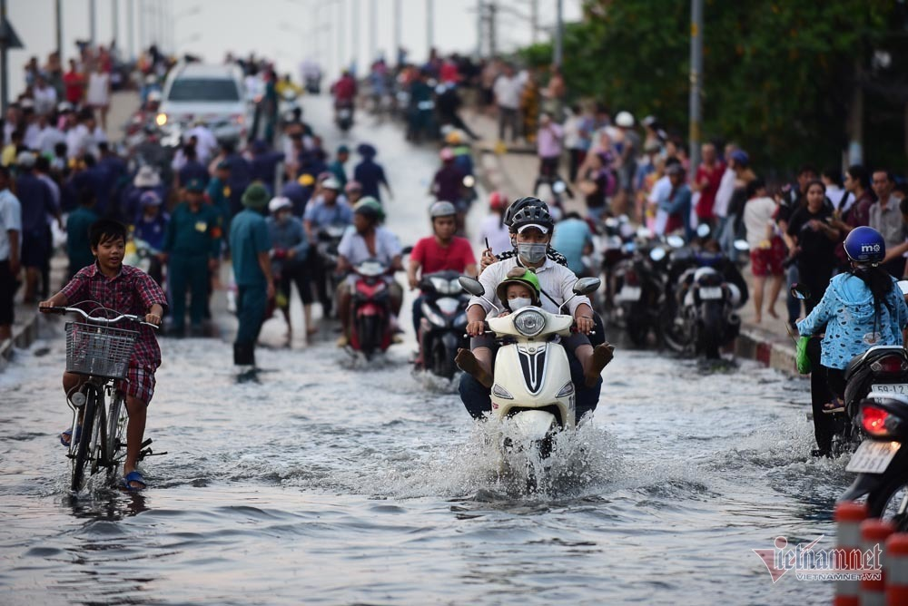 Hàng trăm người Sài Gòn 'oằn lưng' gia cố bờ bao vỡ do triều cường