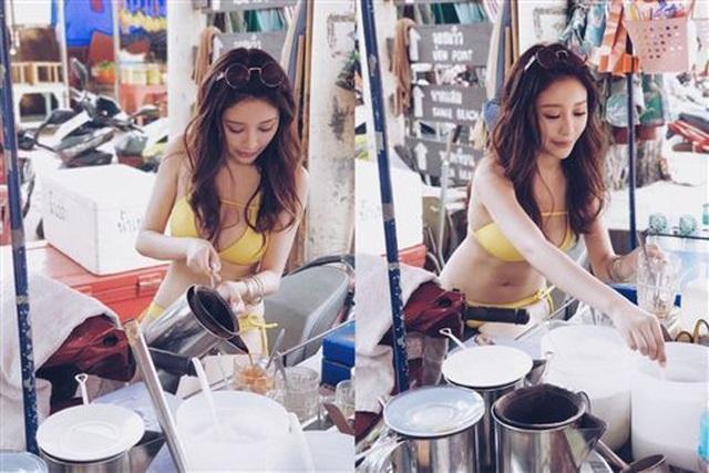 Mặc bikini nóng bỏng bán trà sữa gây tranh cãi