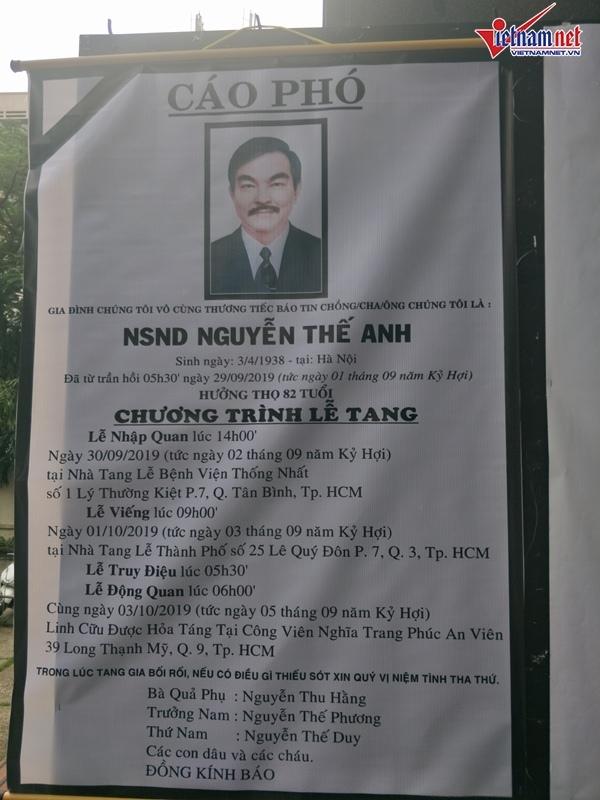 Trung Anh vào TP. HCM viếng NSND Thế Anh