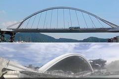 Cầu lớn sập bất ngờ ở Đài Loan, đè bẹp nhiều tàu phía dưới