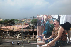 Cháy chợ ở Thanh Hóa, nữ tiểu thương ngã quỵ bên 5 ki-ốt hóa than