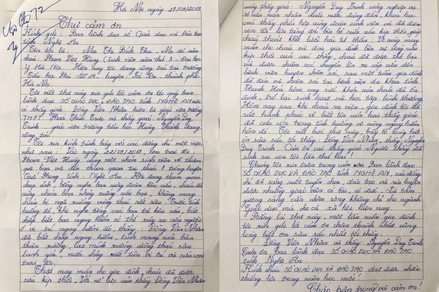Người mẹ viết tâm thư cảm ơn 2 thầy giáo cứu con trai thoát đuối nước