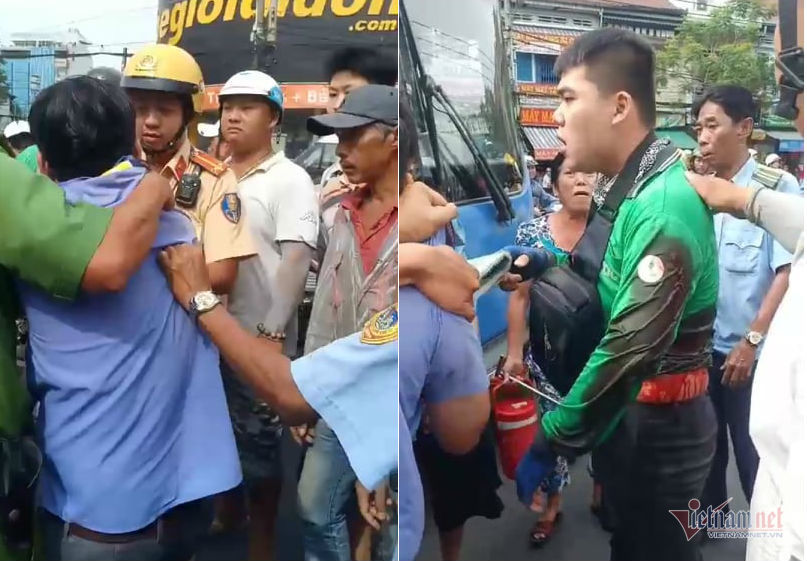 Tài xế xe buýt đâm người trên phố Sài Gòn sau va chạm giao thông