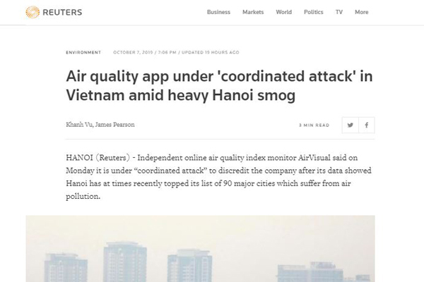 Báo Mỹ: Ứng dụng AirVisual bị công kích khi phản ánh ô nhiễm tại Việt Nam