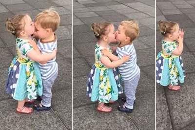 Khoảnh khắc vô cùng đáng yêu của cặp đôi nhí saumột nụ hôn