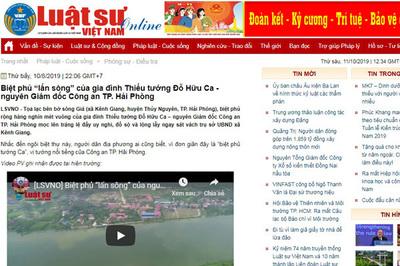 Phạt tạp chí Luật sư Việt Nam do thông tin sai sự thật về Tướng Đỗ Hữu Ca