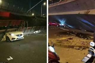Khoảnh khắc cầu vượt cao tốc ở Trung Quốc sập trong tíc tắc, nghiền nát 3 xe ô tô