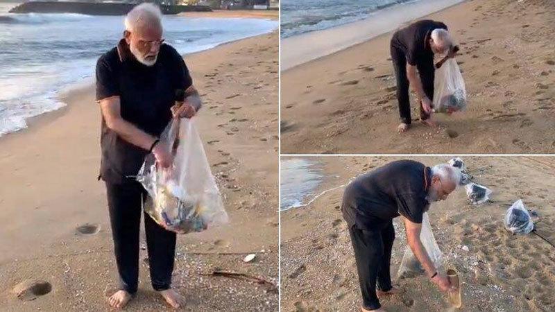 Xem Thủ tướng Ấn Độ nhặt rác trên bãi biển