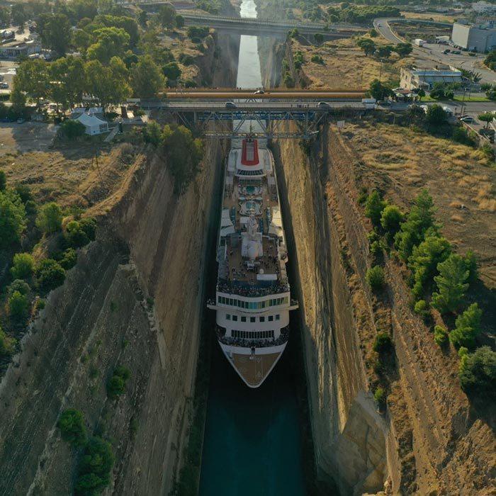 du thuyền,kênh đào siêu hẹp,Hy Lạp