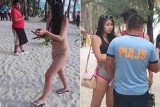 Mặc bikini như sợi dây, du khách bị phạt nặng