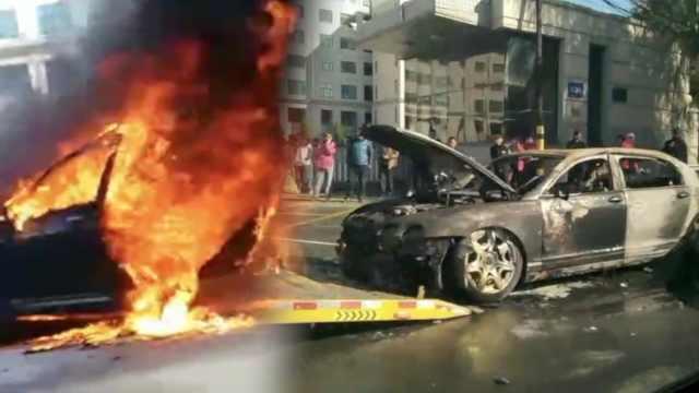 Xót xa xe sang Bentley cháy rụi trơ khung giữa đường