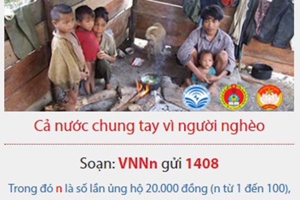 Cổng tin nhắn 1408: Cả nước chung tay vì người nghèo