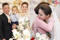 Giang Hồng Ngọc mặc áo dài nền nã trong lễ ăn hỏi, rạng ngời hạnh phúc bên hôn phu và con trai