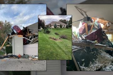 """Tài xế mất lái khiến chiếc xe """"hạ cánh"""" trên mái nhà"""