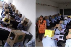 Hình ảnh sinh viên Ấn Độ đội thùng giấy lên đầu khi đi thi