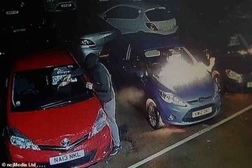 Nửa đêm, kẻ lạ đổ dầu, đốt cháy 10 chiếc ô tô đắt tiền tại showroom
