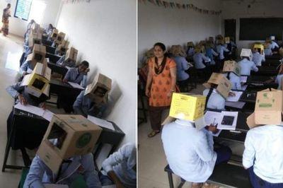 Nhà trường phải xin lỗi vì cho học sinh đội hộp các-tông làm bài thi