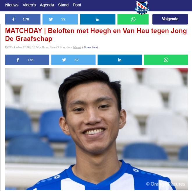 Báo Hà Lan khen ngợi, Văn Hậu mong ra mắt đội 1 Heerenveen