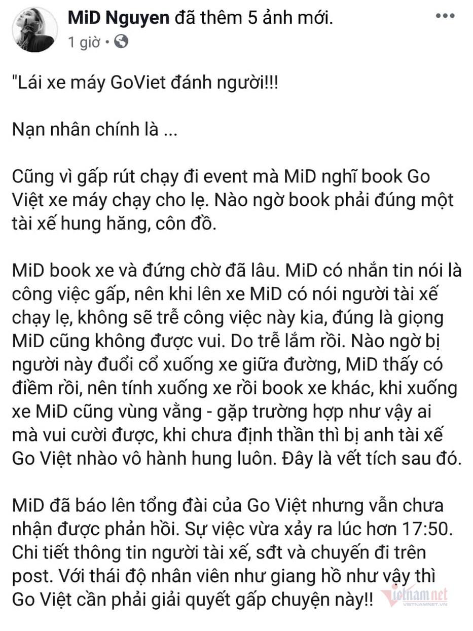 Bị tố đánh người mẫu trên phố Sài Gòn, tài xế Go Việt nói lý do