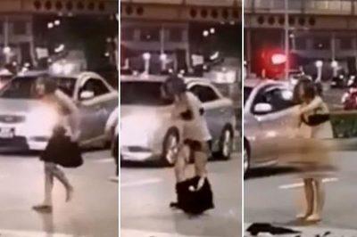 Cãi nhau giữa đường, người phụ nữ 'tức khí' tự lột truồng
