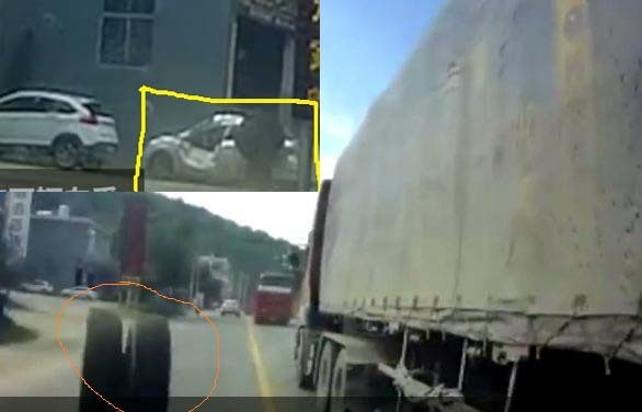 Lốp xe tải lớn văng ra khi đang chạy, 2 xe ô tô bị liên lụy