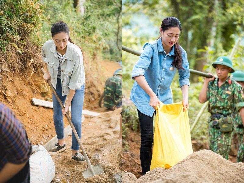 Lương Thùy Linh trượt ngã khi vác vật liệu làm đường cho người dân Lũng Lìu