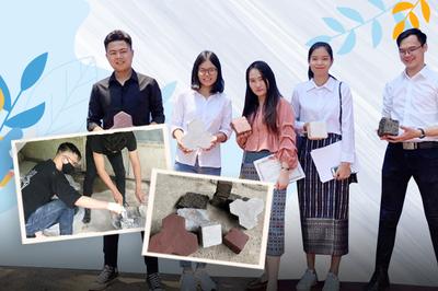 5 sinh viên làm gạch lát hè đường từ nylon rác thải