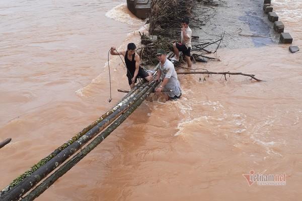 Cầu sập, người dân Bình Định vượt dòng nước lũ bằng thân cau