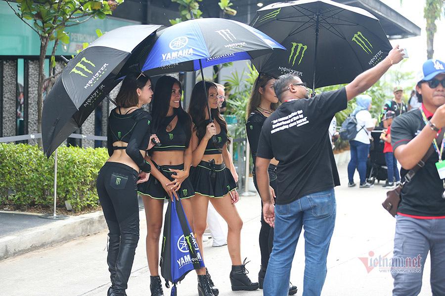 Bóng hồng 'thiêu đốt' đường đua Sepang tiếp lửa Rossi, Marquez