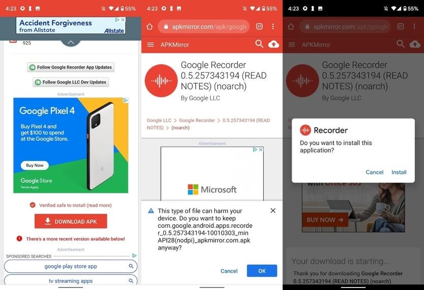 Cách sử dụng ứng dụng ghi âm của Pixel 4 trên smartphone Android bất kỳ