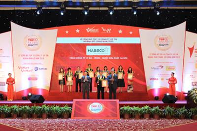 Habeco vào top 10 công ty uy tín ngành thực phẩm - đồ uống năm 2019