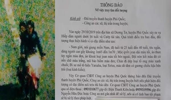 Truy tìm kẻ h iếp d âm bé gái 8 tuổi bán vé số ở Phú Quốc