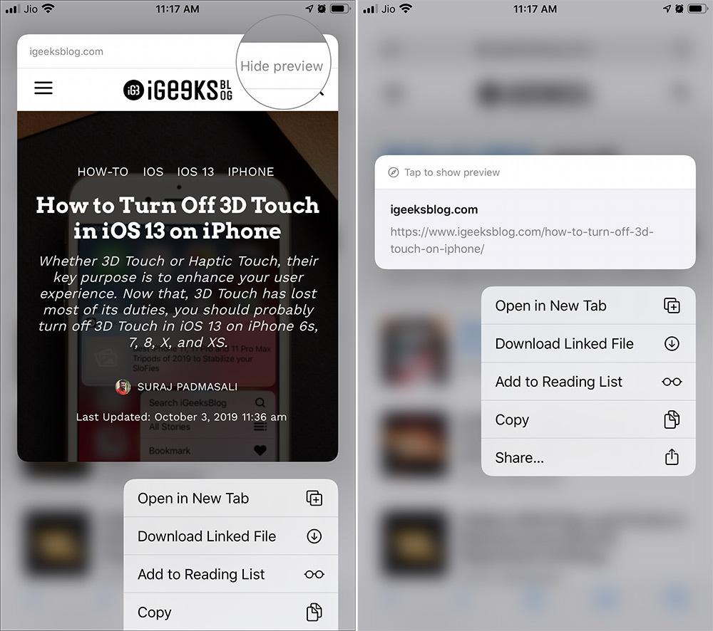 Cách tắt tính năng hiển thị bản xem trước của Safari trên iOS 13