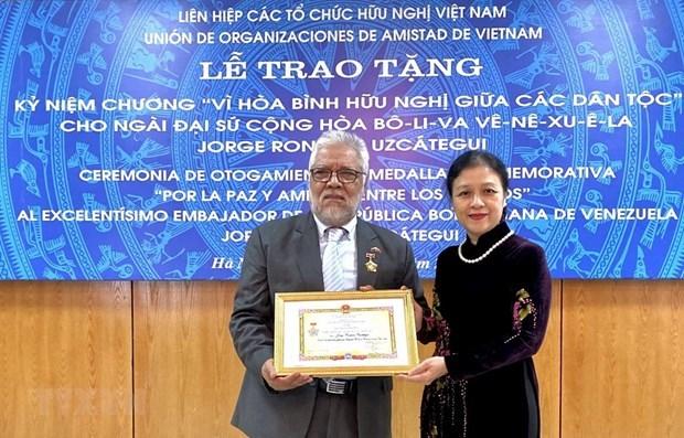 Venezuelan ambassador honoured with friendship medal