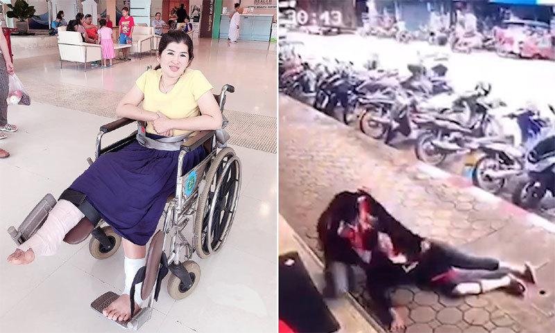 Video: Bị dây điện rơi trúng, người phụ nữ thoát chết tựa phép màu