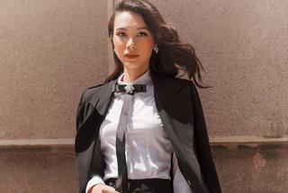 Cô gái lai hóa quý cô công sở đẹp quyến rũ ngày gió mùa
