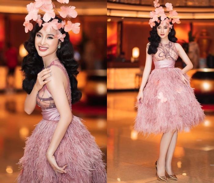 Ngọc Trinh thanh lịch, Angela Phương Trinh chơi trội đội hoa lên đầu