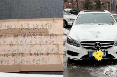Lỡ tông xước Mercedes vắng chủ, shipper dán thông tin liên lạc của mình lên xe