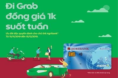 Đi Grab 1k suốt tuần nhờ thẻ Agribank
