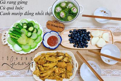Mâm cơm ngon, đẹp của mẹ đảm Hà thành, kéo cả chồng lẫn hai con trai vào bếp