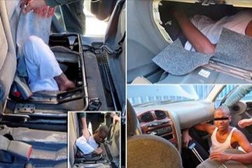 Phát hiện người di cư nằm 'bẹp như gián' dưới ghế ô tô