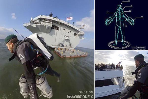 Xem 'người tên lửa' trổ tài bay quanh chiến hạm Anh